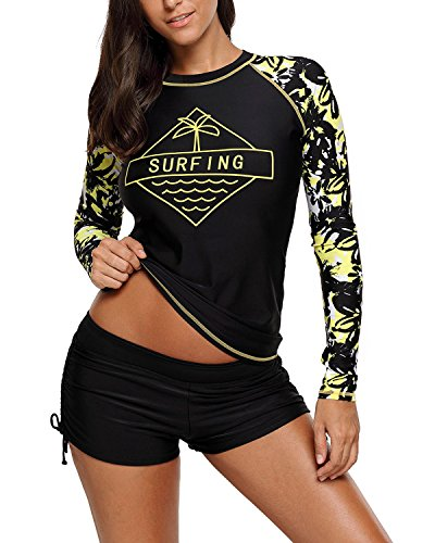 EVALESS Women's Long-Sleeve Rashguard UPF 50+ Swimwear Rash Guard Athletic Tops XX-Large Black by EVALESS