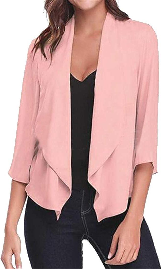 JYZJ Womens Shawl Collar Cardigan Casual Business 3//4 Sleeve Blazer Jacket Coat