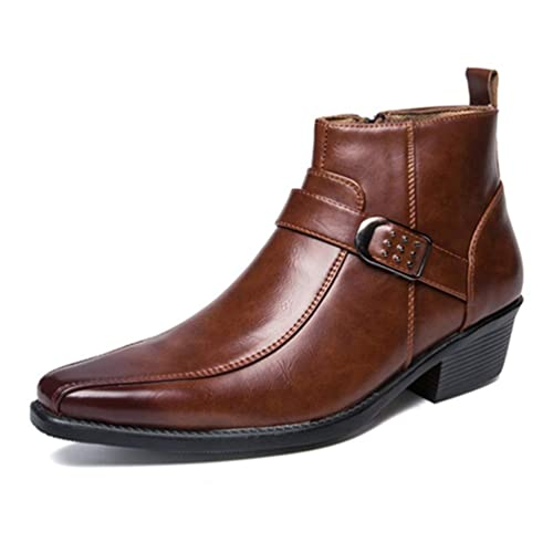 Mens Western Cowboy Biker Boots Retro Negro Botas De Moto Cremallera TacóN Cubano Botas Cortas Negro: Amazon.es: Zapatos y complementos