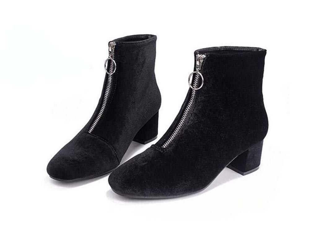 Frauen 5,5 cm Chunkly Ferse Karree Samt Martin Stiefel Kleid Stiefel Charming Reine Farbe Reißverschluss Party Schuhe Eu Größe 34-40