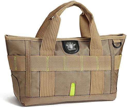 多機能ポータブルゴルフ衣料品収納袋アウトドアレジャー週末旅行バッグ大容量ナイロンハンドバッグブラック、ブラウン HMMSP (Color : Brown)