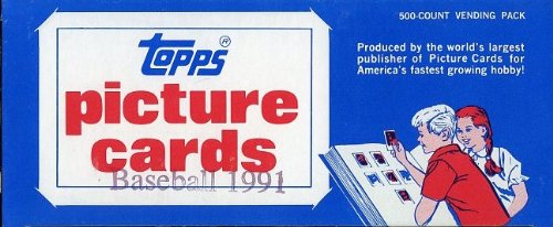 (1991 Topps Baseball Cards Unopened Vending Box of 500 Cards! Look for Rookies including Future Hall of Famer Chipper Jones and Hall of Famers and Superstars including Cal Ripken, Nolan Ryan, Mark McGwire, Barry Bonds and Many More)