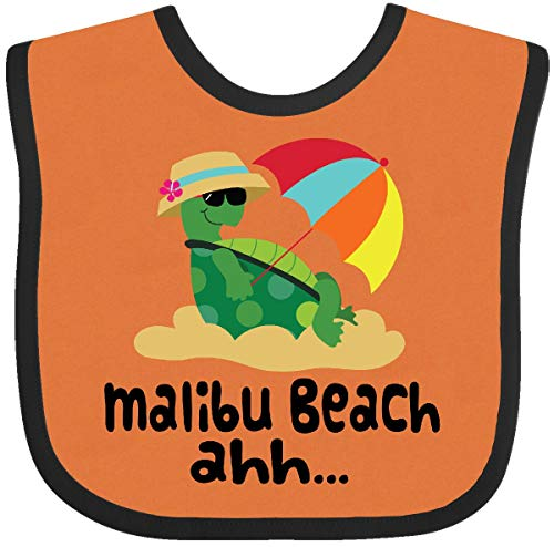 (Inktastic - Malibu Beach California Baby Bib Orange and Black)