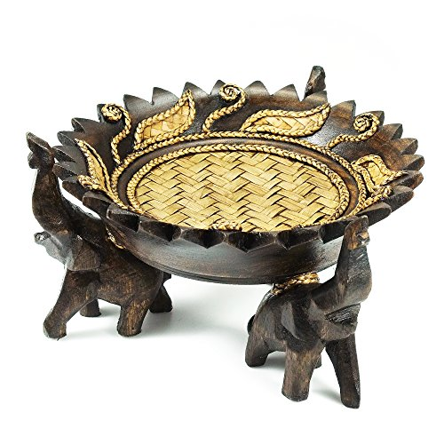 Rejoicing Elephant Tray Adorned with Royal Leaves Carved Rain Tree Wood Circular Bowl - Fair Trade Handicraft by Thai Artisans (Elephant Dishes)