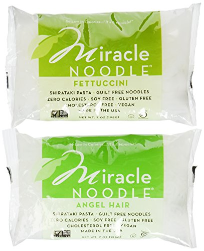 Miracle Noodle Shirataki Angel Hair Pasta and Shirataki Fettuccini, 7-Ounce Packages (Pack of 3 Each) - 6 Total