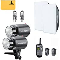 GODOX E250 500W (2x250W) Photo Studio Strobe Flash Light Kit w/ RT-16 Channel Trigger Softbox Modeling Lamp (E250 kit)