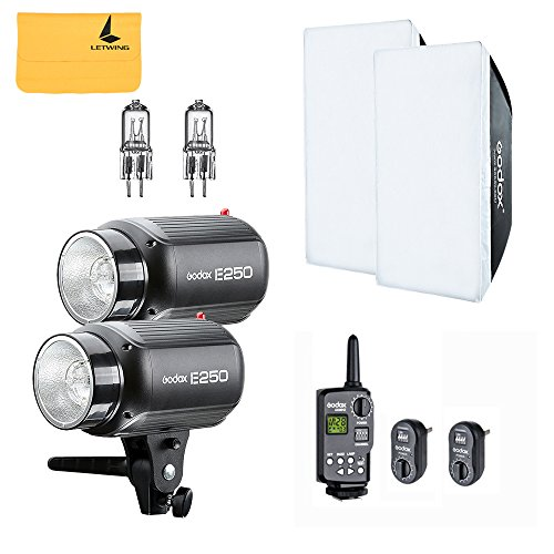 GODOX E250 500W (2x250W) Photo Studio Strobe Flash Light Kit w/ RT-16 Channel Trigger Softbox Modeling Lamp (E250 kit)