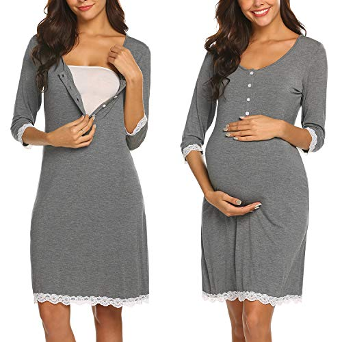 Ekouaer Nursing Nightgown Cotton Breastfeeding Lounge Dress Lace Trim Delivery Gown (Grey ()