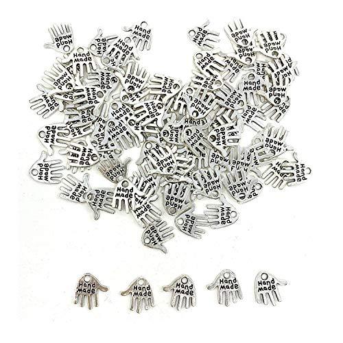 100PCS Hand Shaped Charms - JIALEEY Hand Made Tag Signs Charms Carved Silver Tone for Fashionable Jewelry Making Charms Findings Crafting Sewing