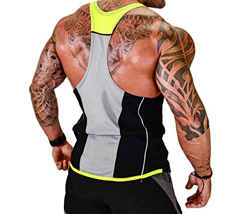 7d96c17b405 ICOOLTECH Men s Fitness Gym Muscle Cut Stringer Bodybuilding Workout  Sleeveless Tank Top Shirts (US -