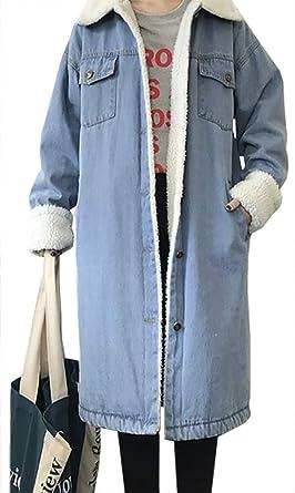 QZUnique Womens Loose Denim Jacket Long Sleeves Casual Jean Jacket Lapel Jean Outwear