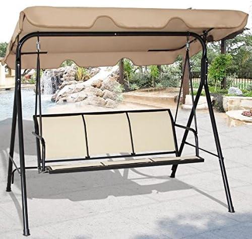 K & una empresa Swing Patio 3 persona al aire libre toldo silla hamaca asiento banco de muebles toldo porche para colgar Gazebo marrón: Amazon.es: Jardín