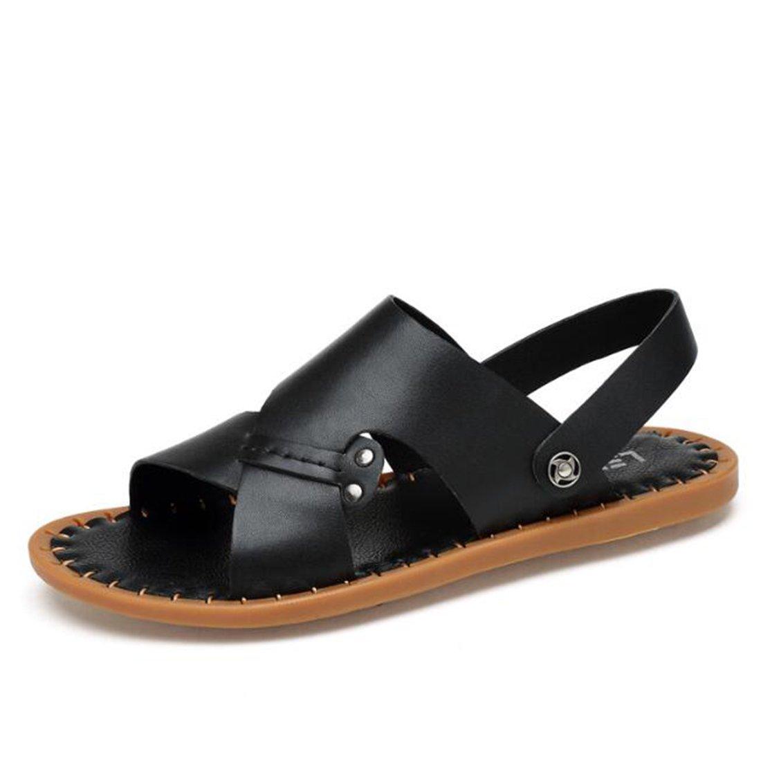 ZHONGST Sandalias De Cuero De Verano Para Hombres Zapatos De Playa Casuales Sandalias Hechas A Mano,Black,40 40|Black