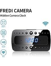 FREDI Spy Camera, 1080P HD WiFi Hidden Camera Clock Mini Spy Cam, Small Wireless Home Security Surveillance Cameras Alarm Clock/Night Vision/Motion Detection for iPhone/AndroidPhone/iPad/PC