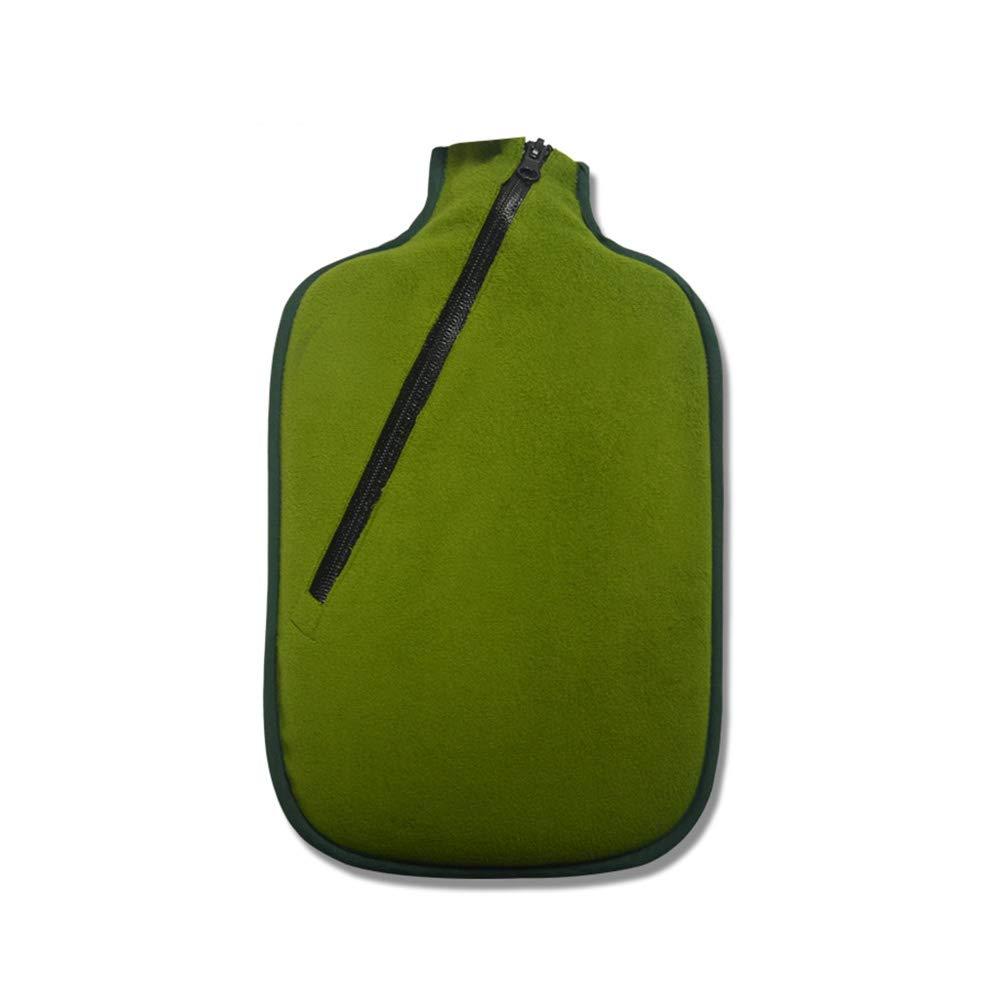 TD Große 2L Flanell-Wasser-Einspritzungs-Warmwasser-Flaschen-Warmer Palast-Handwärmer-Umweltschutz-geruchloses gesundes Material (Farbe : Grün)