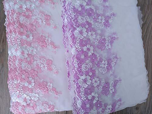 Lace Crafts - 5 Yard/lot 18cm 7.08'' Width Pink/Purple Tulle Gauze mesh Fabric Embroidered Tapes Ribbon lace Trim D8A382M0515F - (Color: Pink) by Laliva