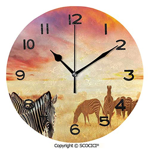 Frameless Clock 3D DIY Decorative Clock African Zebras At Fairy Sunset On The Grassland Wildlife Adventure Theme In The Nature 10 Inch Large Size Round Wall Clock for Living Room Bedroom Office Hotel