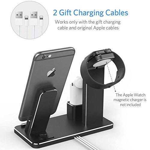 YoFeW Charging Stand for Apple Watch Aluminum Watch Charging Stand Dock Holder for iWatch Apple Watch Series 3/2 / 1/ AirPods/iPhone X /8 / 8Plus / 7/7 Plus /6S /6S Plus/iPad by YoFeW (Image #4)