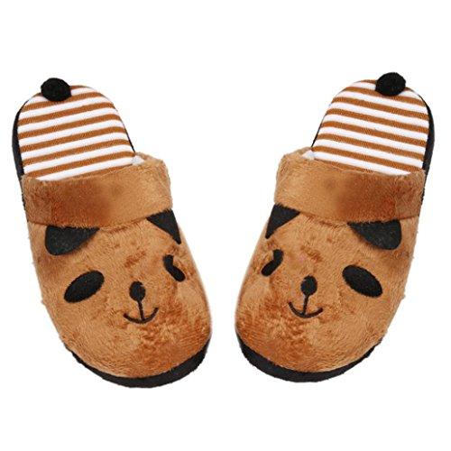 Floor Home GBSELL Women Stripe Lovely Winter Slipper Warm Soft Panda Shoes Coffee Ladies Female Cartoon 440f8qx