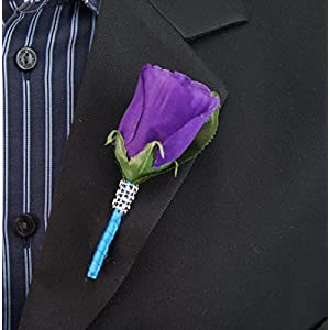 17pc Wedding Bridal Party Bouquets Boutonniere - Turquoise, Purple, Silver - Silk Roses Flowers 5