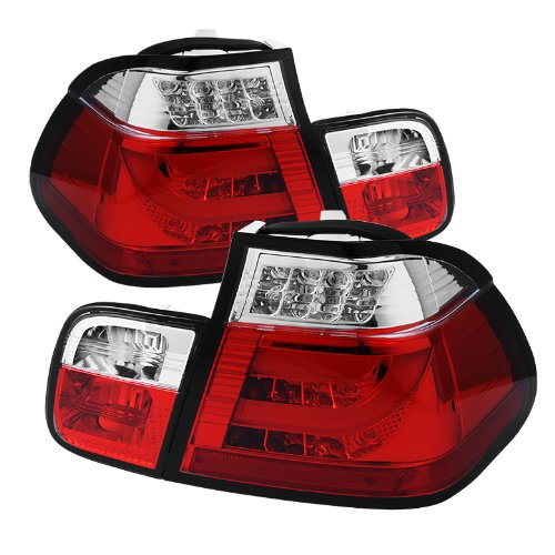 4d Series Led 3 (Spyder Auto ALT-YD-BE4602-4D-LBLED-RC BMW E46 3-Series 4-Door Red/Clear Light Bar Style LED Tail Light)
