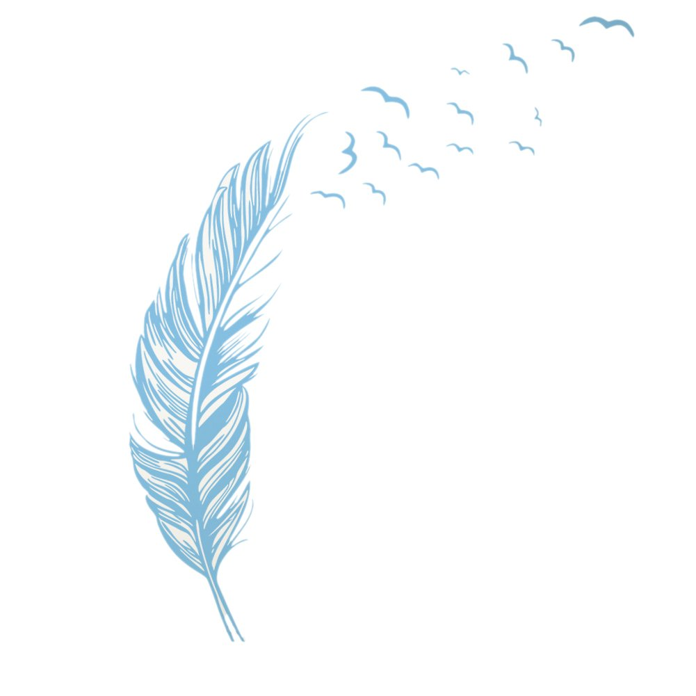 HSLwandsticker - wandtattoo ein grosser vogel feder muster fur schlafzimmer und wohnzimmer hellblau