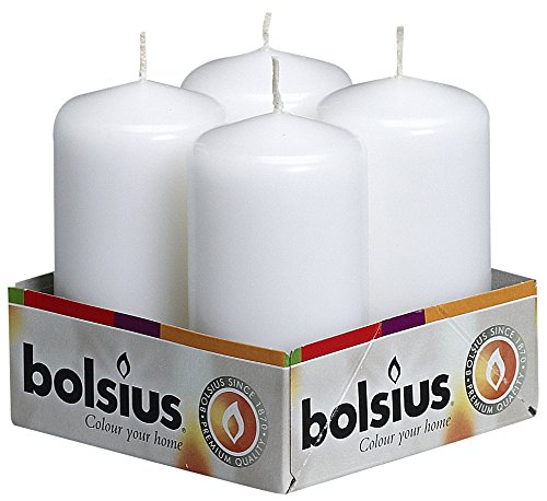Bolsius Pack of 4 White Pillar Candles 2X4 Inch 103613300902