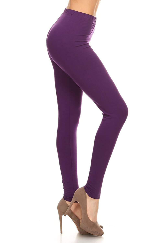 Leggings Depot Women's Premium Quality Ultra Soft Cotton Spandex Solid Leggings (Purple, XS)