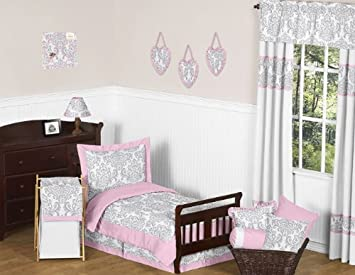 sweet jojo designs 5 piece pink gray and white elizabeth toddler bedding girl set - Toddler Girl Bedding