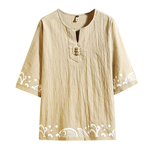 Toimothcn Men's Casual Shirts Vintage Half Sleeve Ethnic Print Cotton Linen Tshirts Top Blouse (Khaki,XXXL)
