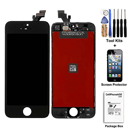 cellphoneage® White for iPhone 5 5G LCD Replacement screen Display Glass Touch Screen Digitizer Assembly kit with Free screen protector (Black)