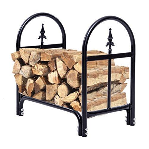 2 Feet Outdoor Firewood Log Rack Heavy Duty Steel Wood Storage Holder Black