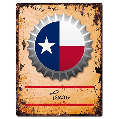 Best AMERICA TEXAS STATE Flag Bottle Cap Rustic Vintage Retro Kitchen Bar Pub Coffee Shop Wall