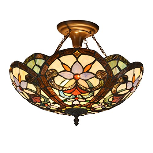 DOCHEER Stained Glass Tiffany Ceiling Fixture Lamp Semi Flush Mount 16.5 Inch Shade for Dinner Room Pendant Hanging 2 Light ()