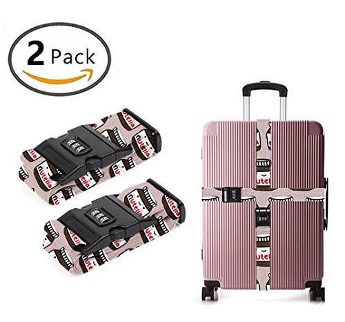 Delsey Black Camera Bag - YEAHSPACE Delicious Nutella 2 Pack Luggage Straps Suitcase Adjustable Belt Travel Bag Accessories
