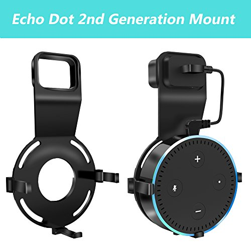 Echo Dot Wall Mount, Ofspower Smart Home Alexa Accessories Outlet Wall Mount Stand for Amazon Echo 2nd Generation Speaker Holder with Charging Cord Cable