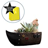 LightningStore Cute Brown Grey Gray Ship Boat House Succulent Plants Pot Microlandschaft Personalized Office House Balcony Landscape Pot Creative Decorative Flower Pots + Mini Figures Set Bundle