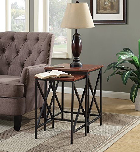 Convenience Concepts Tucson Nesting End Tables, Cherry/Black