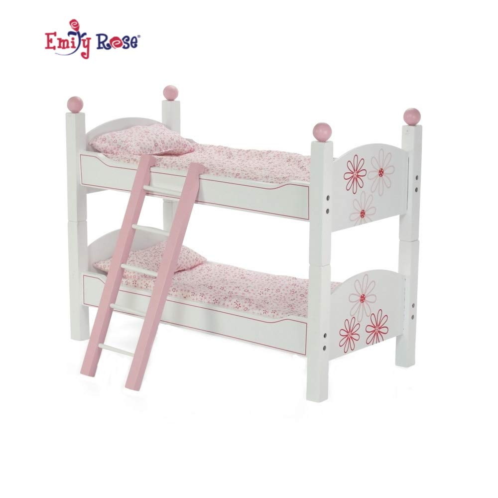 Fits 18 American Girl Dolls 2 Single Stackable 18 Inch Doll Beds Doll Bunk Bed Doll Bunk Bed Includes 2 Sets of Colorful Bedding /& Ladder 18 Inch Doll Furniture for American Girl Dolls