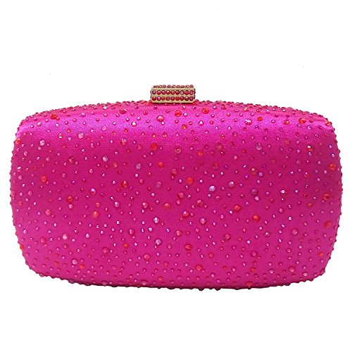 Diamond Women Evening Purse Minaudiere Clutch Bag (Fuchsia)