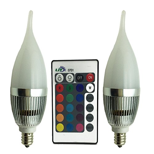 LJY 2-Pack E12 Candelabra 3W RGB LED Light Remote Control Color Changing Flame Tip Candle Lamp Bulbs AC 110V (Blue Light Chandelier compare prices)
