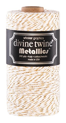 Divine Twine, Gold Metallic (Bakers White Twine Cotton)