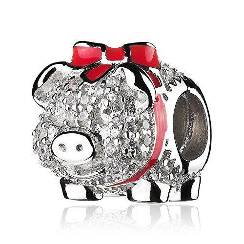 ATHENAIE 925 Sterling Silver Red Enamel Bow Piggy Bank with Clear CZ Bead Charms