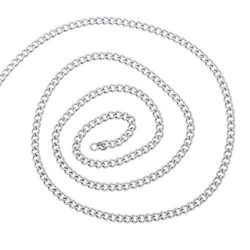 HooAMI 2M Stainless Steel Cuban Curb Link Chain For Necklace Silver Tone 4x3mm