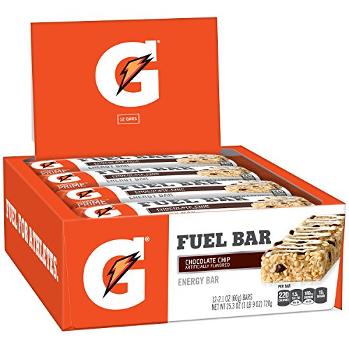 Gatorade Prime Fuel Bar, Chocolate Chip, 45g of carbs, 5g of protein per bar (12 Count) (Total Net Wt 25.3 Oz)