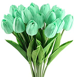 GTIDEA 20 Pack Artificial Tulip Flower Branch Latex Real Touch Fake Flores Wedding Bouquet Home Party Decor 13