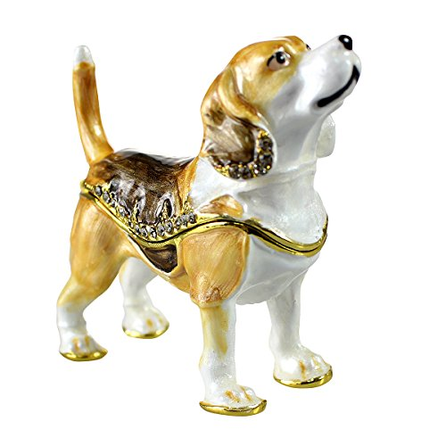 - Beagle Trinket Box Bejeweled Hinged Keepsake Collectible Gift for Pet Lovers