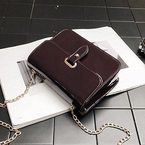 CJshop Bolsa Chica Estilo Nueva Versión Coreana de Wild Bolso Satchel Mini Cadena Bolsa Cuadrado Pequeño Lado Brillante Fashion Box Pack,Claret Claret