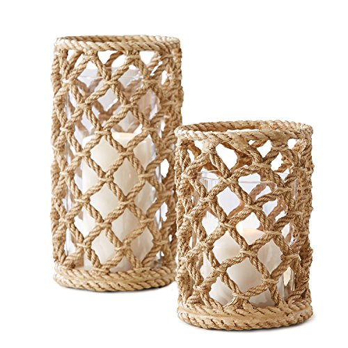 Two's Company Braids Set of 2 Rope Candle Holders with Glass Sleeve