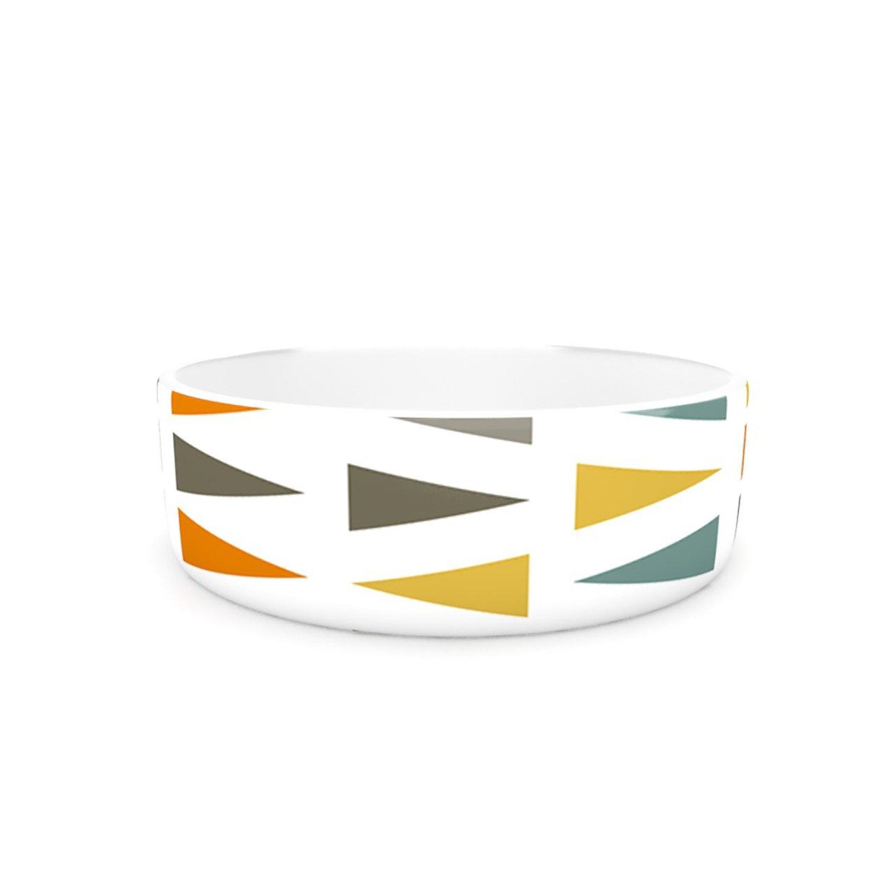 Kess InHouse Pellerina Design Stacked Geo Pet Bowl, 7-Inch, White Triangles